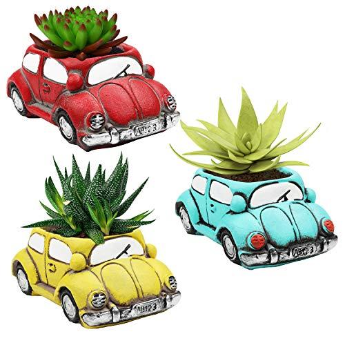 BELLE VOUS Mini Blumentopf Zement Autoform (3 STK) -Retro Pflanzentopf Gartentöpfe Kreativ für Sukkulenten, Kakteen, Kräuter – Auto Pflanzengefäß Blau, Gelb, Rot für Zuhause, Garten, Geschenk, Büro