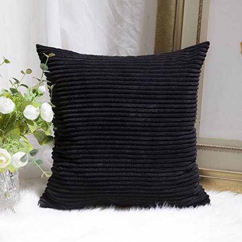 Home Brilliant Super Soft Striped Corduroy Easter Decoration Euro Throw Pillow Sham Cushion Cover for Baby, 26 inches, Jet Black
