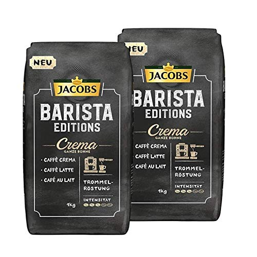 Jacobs Kaffeebohnen Barista Editions Crema Packung, Packung mit 2 Stück (2x 1 kg Kaffeebohnen), Geschenk: Jacobs Kaffeetasse