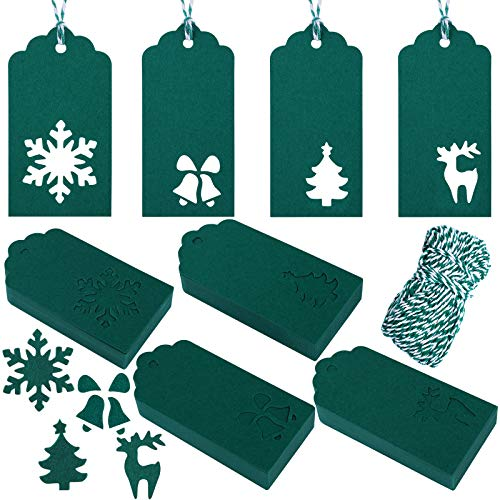 Aneco 160 Pieces Christmas Tags Hang Labels Paper Tags Kraft Christmas Tree Snowflake Bells Reindeer Design for Favor, DIY Arts and Crafts Supply with 30 m Twine