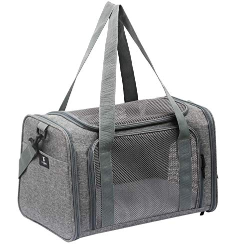 X-ZONE PET Airline Approved Pet Carriers,Soft Sided Collapsible Pet Travel Carrier for Medium Cats and Puppy (Medium, Grey)