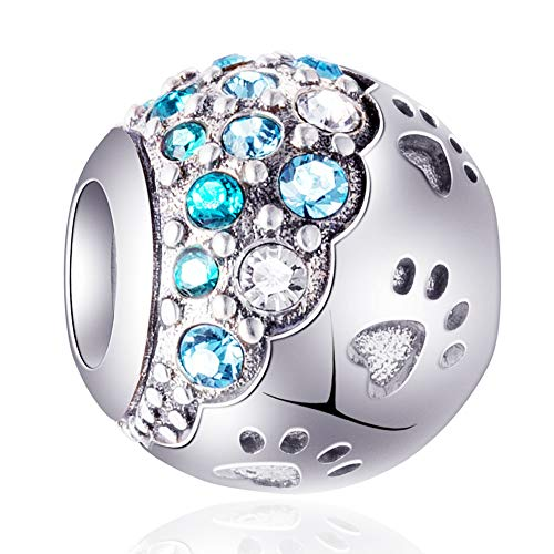 EMOSTAR Dog Paw Print Charms with Colorful Turquoise Crystals - 925 Sterling Silver Puppy Pet Heart Paws Beads, fits Pandora Charmed Bracelets for Men/Women and Boys/Girls Gifts