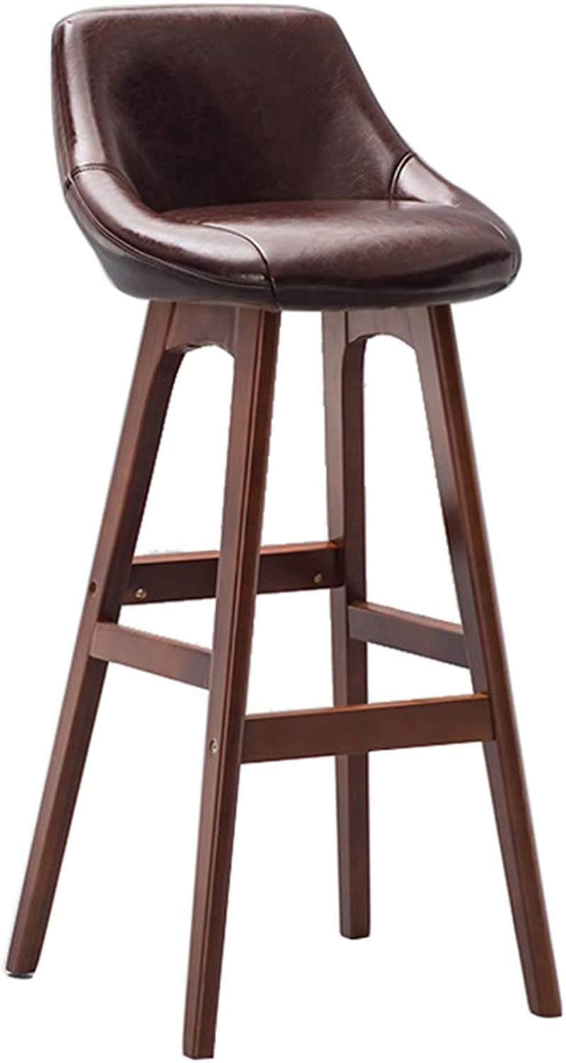 69f7e1dca1a2 Qing MEI Kitchen Solid Wood Stool Breakfast Chair Chair Brown Back ...