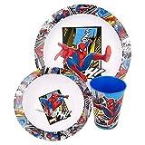 Spiderman - Vajilla infantil con plato, cuenco para cereales y vaso, diseño de Spiderman