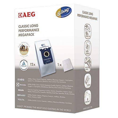AEG GR201M original s-bag Classic Long Performance MegaPack, 12 Synthetik Staubsaugerbeutel, optimale Filtration und maximale Saugleistung, Hygieneverschluss, mehr Volumen, +50% Lebensdauer, weiß