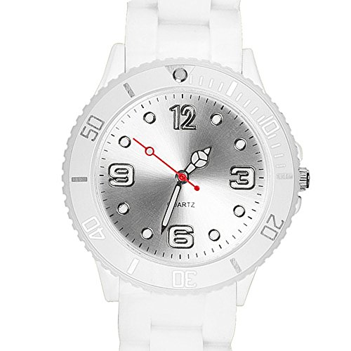 Taffstyle Farbige Sportuhr Armbanduhr Silikon Sport Watch Damen Herren Kinder Analog Quarz Uhr 34mm Weiß