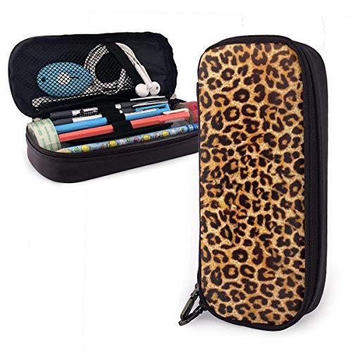 XCNGG Estuche para lápices de cuero con estampado de leopardo Estuche para lápices de gran capacidad Porta lápices grande Bolsa de maquillaje Cremalleras dobles para adolescentes, niños, niñas, estudi