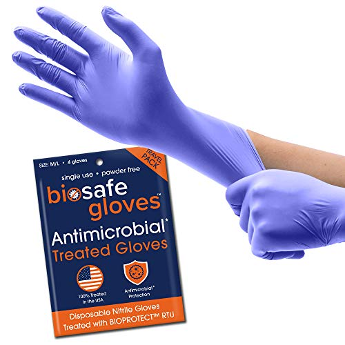 BioSafe Disposable Medium/Large Nitrile Gloves (pack of 4) - Travel Pack - Nitrile Gloves Coated with BIOPROTECT RTU