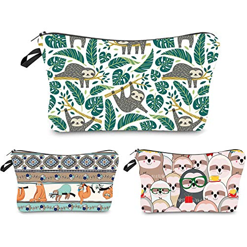 Makeup Bag Funny,Travel Portable Cosmetic Bags Organizer Small Multifunction 3D Printing Toiletry Handbag Waterproof Brushes Storage Pouch for Women Purse (Tree Sloths)