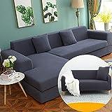 YLXD 2 Piezas Funda de Sofa Elástica Chaise Longue Brazo Largo Derecho Cubre Sofá Modelo Acolchado Diseñada de Forma L Protector para Sofá de Color Sólido
