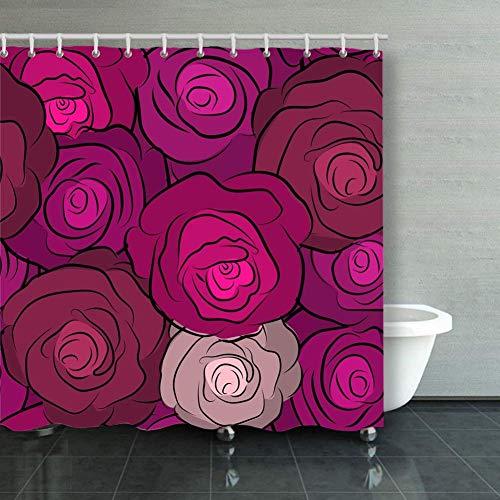 BGNHG Cortina de la Ducha Shower Curtain Wild Rose Design Flower Flowe