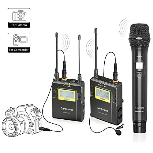 Saramonic Micrófono inalámbrico para cámara, sistema de micrófono inalámbrico UHF con transmisor de cuerpo, transmisor de mano y receptor de grabación de video para Nikon, Canon, Sony, DSLR