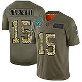 Maillot de Football américain Minshew II 15#, Maillot de Rugby pour Homme Jacksonville Jaguars # 15, T-Shirt d'entraînement Confortable à séchage Rapide, Haut à Manches Courtes-ArmyGreen-XXXL