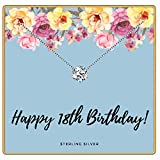 KEDRIAN Happy 18th Birthday Necklace, 925 Sterling Silver, 18th Birthday Gifts for Girls, 18th Birthday Presents for Women, 18th Birthday Party Gift Ideas, 18th Birthday Jewelry for Girls