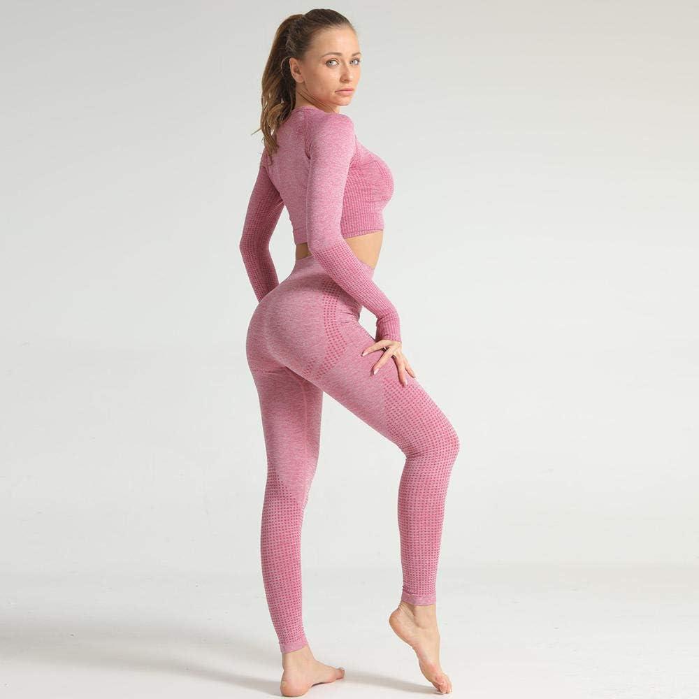 V/êtements De Yoga 2 Pcs//Ensemble Taille Haute Sport Costume Gym Pantalon Femme sans Soudure Push Up Hanches Leggings Yoga Running Fitness Set