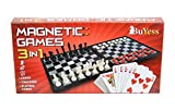 3 in 1 Magnetic Travel Chess, Checkers, Cards Set 12.6' x 12.6' Board Games for Kids, Adults, Family