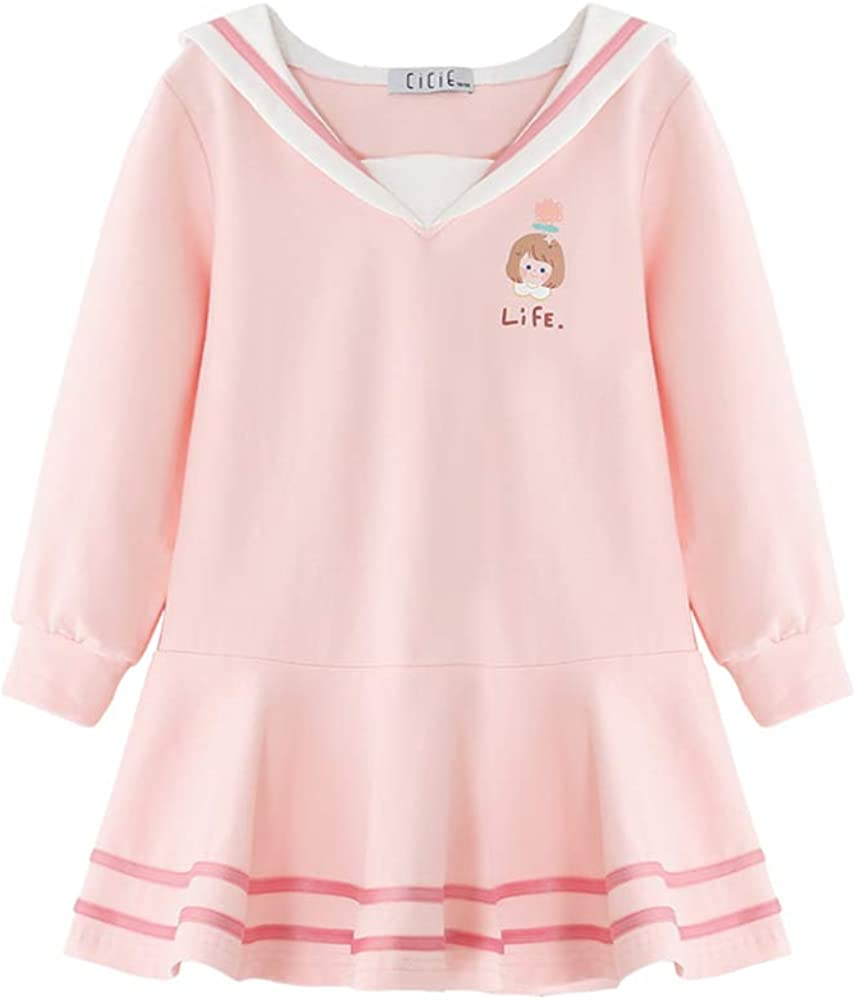 cicie Girls' Cotton Casual Cute Princess Long Sleeve Dresses for School Party