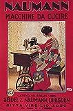 Póster vintage alemán Seidel Naumann de la máquina de coser del anuncio, A4