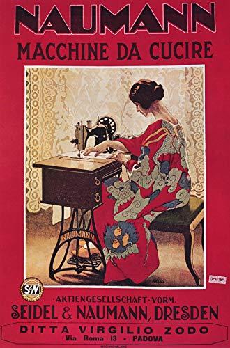 Póster vintage alemán Seidel Naumann máquina de coser anuncio para pared, impresión fotográfica A4