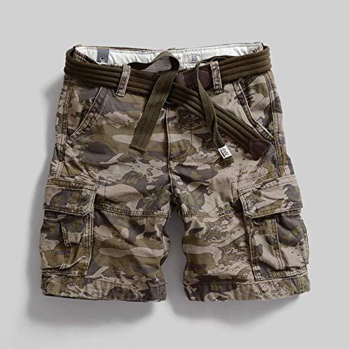 lxylllzs Bermuda Pantalon Court Multi Poches,Salopette d'extérieur surdimensionnée, Pantalon Cinq Poches Multi-Poches-Camouflage_2_38,Shorts Cargo Homme Rétro Baggy,