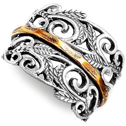 Boho-Magic 925 Sterling Silver Spinner Ring with Brass Spinning Ring for Women | Nature Leaves Fidget Meditation Anxiety Wide Band | Statement Chunky Jewelry Size 6-10 (6)