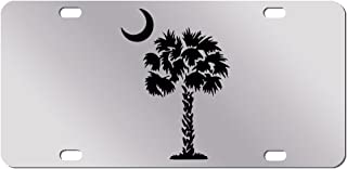 Black Palm Tree Crescent Moon Mirror License Plate South Carolina Beach Logo Car Tag