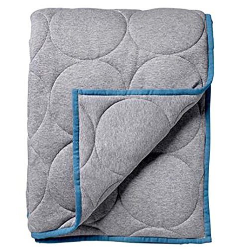 Couvre-lit en jersey, gris et bleu pétrole