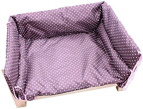 UIZSDIUZ Haustierbett Hundebett lila Haustier mit Zaun und Matratze, Massivholzrahmen Stabiler Pet Kennel, Katzenbett (Size : XXL(L110×W66×H50cm))