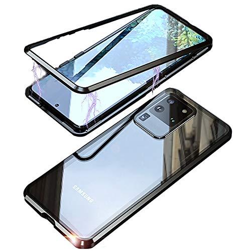MOSSTAR Funda para Samsung Galaxy S20 Ultra, absorción magnética, marco de metal, 360 grados, parte trasera de cristal templado, ultrafina, transparente, color negro