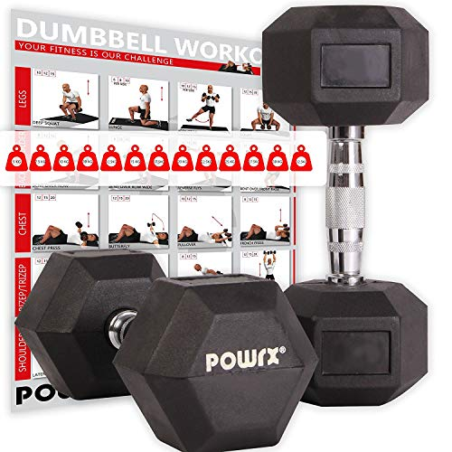 POWRX - Manubri Pesi esagonali gommati 2-30 kg + PDF Workout (Nero)