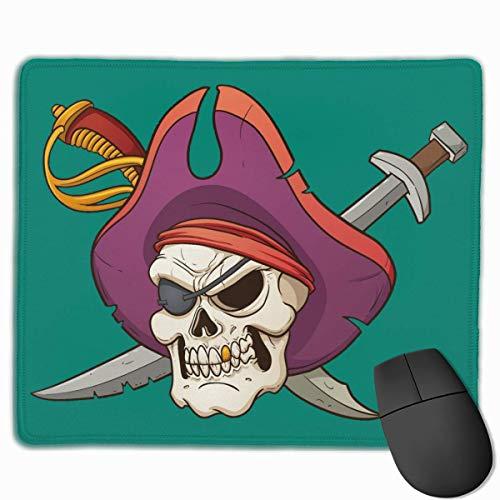 Piratenschädel und gekreuzte Schwerter Gummi-Mauspad-Gaming-Mauspad mit genähter Kante