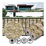 GDMING Pantalla para Balcón Vallas Decorativas 100% Bloqueado Resistente A Los Rayos UV Impermeable Panel para Al Aire Libre Porche, Patio, Jardín Patrón De Piedra PVC, 50 Tamaños