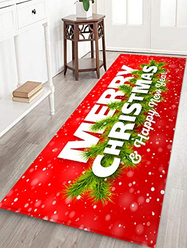 Red Christmas Print Foam Comfort mat Large Non Slip Super Soft Coral Fleece rug Doormats Carpet for Kitchen Dining and Living Room 71 x 24 inches