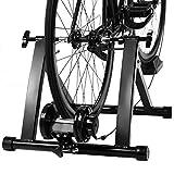 COSTWAY Rollentrainer inkl. Vorderradstütze und Schaltung mit 5 Gänge, Fahrrad Heimtrainer klappbar, Cycletrainer bis 150KG belastbar, Fahrradtrainer 26-28 Zoll und 700c Fahrrad, schwarz