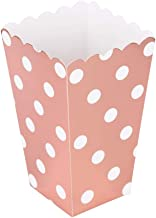 We Moment Rose Gold Large Popcorn Boxes Open-Top Cardboard Boxes Container,Polka Dots,Pack of 12