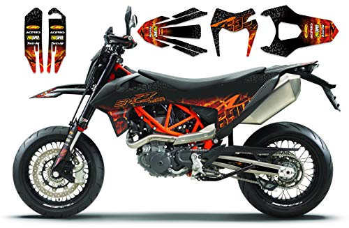 FIRE highgloss race-styles Dekor kompatibel mit KTM SMC R Enduro 690 2019 2020| Factory DEKOR Decals KIT Aufkleber Graphics