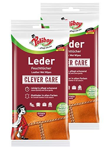 Poliboy - Leder Pflege Tücher - für alle Glattleder in allen Farben - Feuchttücher - 2er Pack - 2x20 Stück (40 Tücher) - Made in Germany