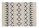 Lorena Canals - Alfombra lavable Bereber Canvas - Natural, Negro - 60% algodón, 40% otras fibras. Base: Algodón reciclado - 160x120 cm