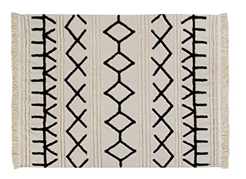 Lorena Canals Tapis Lavable Bereber Canvas 100% Coton -Noir- Beige- 160x120 cm