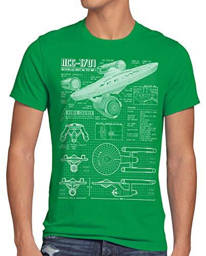 style3 NCC-1701 Camiseta para Hombre T-Shirt Fotocalco Azul Christopher Pike Trek Trekkie Star, Talla:L, Color:Verde
