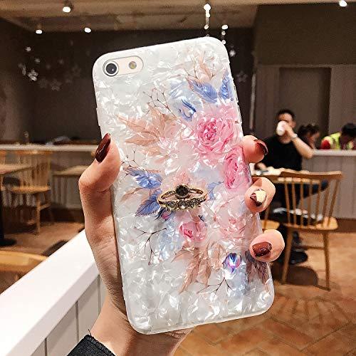 Uposao Compatible con iPhone 8 - Funda protectora ultra fina de silicona TPU con diseño floral multicolor 3D rosa con soporte para anillo con diamante con pedrería brillante, rosa