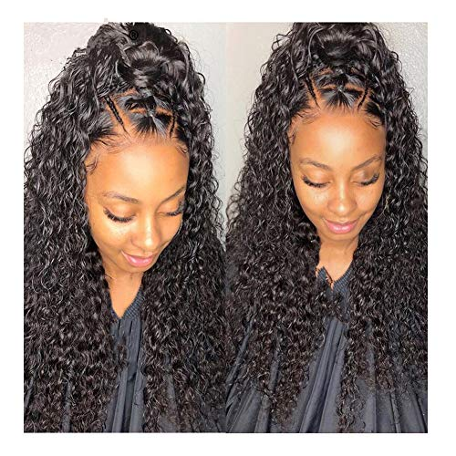 ALYSSA HAIR Glueles Curly Lace Front Wigs with baby hair 150% Density Brazilian Virgin Human Hairloose Curly Wig For Black Women free part Natural color 18 inches