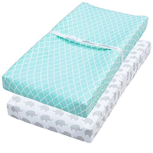 Water Repellent Changing Pad Cover, 2 Pack Mint & Elephant Fitted Soft Cotton