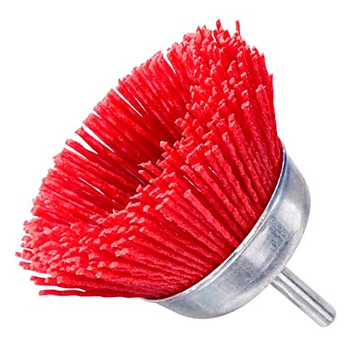 Swpeet 1Pcs 2Inch Red Nylon Filament Abrasive Wire Cup Brush with 1/4 Inch Shank, Include Fine Medium Coarse Grit Perfect for Removal of Rust/Corrosion/Paint - Reduced Wire Breakage and Longer Life