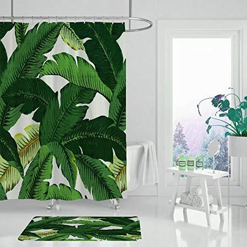 XCBN Duschvorhang Blätter Duschvorhang und Teppichabdeckung Sonnenblume Duschvorhang Bad wasserdichte Baddekoration A6 150x180cm