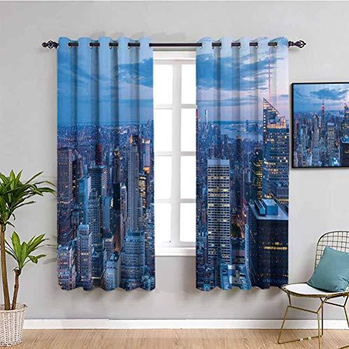 Nueva York Farmhouse cortina vista nocturna aérea de Nueva York con cielo oscuro nublado puesta de sol en la ciudad moda capital arte foto protectora muebles azul W108 x L84 pulgadas