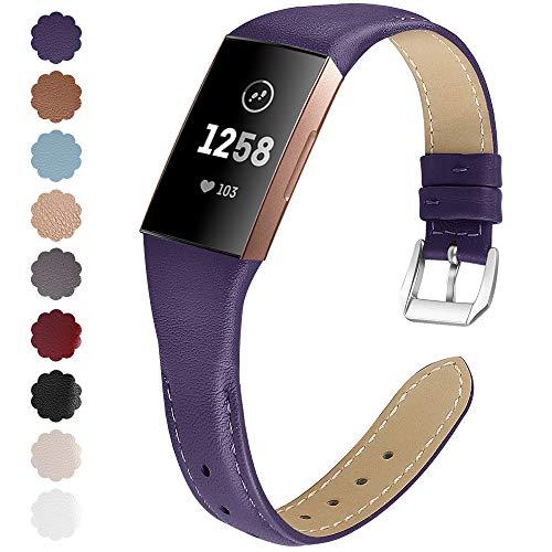 KIMILAR Armbänder Kompatibel mit Fitbit Charge 4 / Charge 3 Armband Leder,Ersatzband Zweifarbig Band Uhrenarmband für Charge 4/3/SE Fitness Tracker Damen Herren -Lila,S