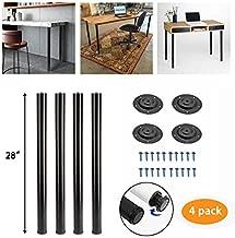 Kullavik 28 Inch Height Metal Heavy Duty Furniture Legs,Adjustable Durable Legs for Office Desk,Coffee Table,Kitchen Table,2 Inch Diameter(Set of 4)-Black