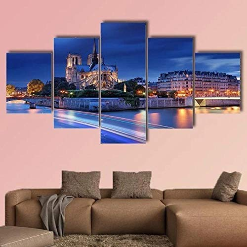 JJJKK Lienzo impresión 5 Piezas Cuadro XXL 150 × 80 cm Cita de la Isla con la Catedral de Notre Dame de parís Moderno Deco Sala Estar oficin sofá HD impresión Decor Hogar Pared Arte Marco Enmarcado