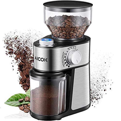 Aicok Macinacaffè 200w Macinacaffè elettrico in Acciaio inox 18 tipologie di macinatura, 14 tazze, Capacità 250g, Per macinare Caffe, spezie, cereali, 2 anni di garanzia